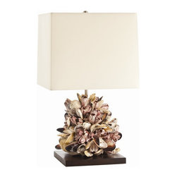 "Arteriors Home - Arteriors Home Kourtney Mussel Shell Table Lamp - Arteriors Home 19205-375 - Arteriors Home 19205-375 - The Kourtney Table Lamp features a sea inspired design but with elegance and charm. The base is constructed of various mussel shells, featuring purple, yellow, and iridescent hues. Fully supported on a wood base, featuring a rich finish and measures 10"" Sq x 1"" H. An ivory square shade with cream cotton lining offers a warm, ambient glow."