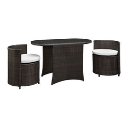 Modway - Katonti 3 Piece Dining Set in Brown White - Katonti's intimate dimensions reveal an outdoor patio set with an inner world of opportunity. Perfect for use in a private setting, or outdoor seating for a trendy restaurant; Katonti exudes boundless chances for myriad conversations and animated debates. Whether a business meeting with a treasured client or a last minute lunch with a friend, pull up the cylindrical shaped chairs and celebrate success around the elliptic tempered glass top table.