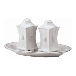 """Juliska - Juliska Berry and Thread Salt and Pepper Whitewash - Juliska Berry and Thread Salt and Pepper Whitewash.Keep this handsome couple on display at your table. Divine little details include subtly worn thread and berry motif, elegant feet and a matching dish to keep the pair in tow. Dimensions: 3.5"""" H"""