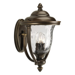Progress Lighting - Progress Lighting P5923-108 Prestwick Three-Light Large Outdoor Wall Lantern - 3-Light Large Wall Lantern with stately traditional style, classic roof lines and unique cast yoke straps. Water glass urn shades with an Oil Rubbed finish.Features:
