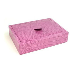 Pink Croco Leather Valet with Top - 9W x 2H in. - If you enjoy the finer things in life, you'll surely love the stylish Pink Croco Leather Valet with Top. Made of eye-catching pink Croco leather, this valet jewelry box boasts multiple compartments for keeping your accessories organized and easily accessible. Simple elegance, coupled with superior craftsmanship, lends an upscale feel to this jewelry box, making it the perfect gift for any occasion. About Bey-Berk InternationalThis quality item is created by Bey-Berk. For more than 20 years, Bey-Berk International has crafted and hand-selected unique gifts and accessories from around the world to meet the demands of discerning customers. With its line of elegant and distinctive products, Bey-Berk has established itself as a leader in luxury accessories.
