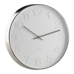 "Embossed Numbers 15"" Wall Clock - This minimal and beautiful clock tells perfect time without sticking it in your face; the white on white embossed numerals add a lovely subtlety. The stainless steel frame is punctuated by the chrome hands."
