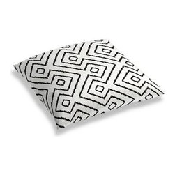 Black & White Optical Diamond Custom Floor Pillow - A couch overflowing with friends is a great problem to have.  But don't just sit there: grab a Simple Floor Pillow.  Pile em up for maximum snugging or set around the coffee table for a casual dinner party. We love it in this super chic black and white diamond print on pure linen. A bold, graphic statement in your modern home.