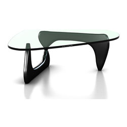 Herman Miller - Noguchi Table, Black - This is an authentic Noguchi Table by Herman Miller. Designed by famous Herman Miller collaborator Isamu Noguchi. This glass top coffee table has a well-thought out design that utilizes a heavy triangular glass top with rounded edges and two symmetric wooden legs that create a transparent appearance. This is perhaps the most celebrated coffee table of all time. Herman Miller has had a relationship with Noguchi and with the Noguchi Foundation for more than 60 years. They began manufacturing and producing the table in 1947. Thanks to Noguchi's friendship with George Nelson (another Herman Miller partner) a collaboration between Herman Miller and Noguchi was born. It has lasted a long time; Herman Miller is very proud to be the official manufacturers of one of the finest glass top coffee tables ever built.