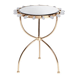Kathy Kuo Home - Gretchen Hollywood Regency Quartz Antique Mirror Gold Round Side Table - Brilliant, beautiful and brimming with natural quartz, the shimmering brass side table adds an eclectic accent to your Industrial loft or modern studio. Three polished legs support the circular antique mirror top, detailed with seventeen stunning, oversized pieces of clear quartz.