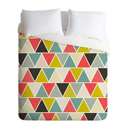 Peaks and Valleys Duvet Cover - A geometric, structured choice with bold color and vibrant appeal, the Peaks and Valleys Duvet Cover boasts a simple triangle motif that transforms the bedroom. Vivid color choices include watermelon and lime, with sky blue and shades of gray to offset the bright appeal. Some triangles offer a subtle polka dot motif that adds interest and depth to the highs and lows of the design. A hidden zipper makes this a cinch to clean.