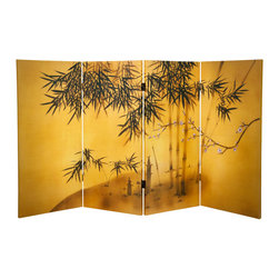 Oriental Furniture - 3 ft. Tall Double Sided Bamboo Tree Canvas Room Divider - This beautiful folding screen depicts a bamboo grove and a single blossoming plum branch set against a lush golden background on four panels. In Chinese culture, these plants are known for surviving through the winter without withering. They are often depicted together in art to symbolize perseverance, loyalty, and resilience. Printed in high definition on art quality canvas, this stunning three-foot tall folding screen will bring a graceful Chinese accent to any room.
