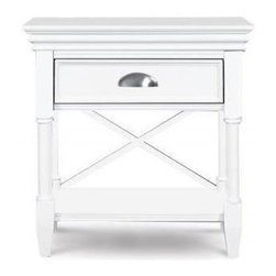 Magnussen Home Furnishings - Magnussen B2026 Kasey Wood Open Nightstand - The Magnussen Kasey nightstand is a perfect accompaniment to your bedroom with it's bold white finish and brushed nickel accents.