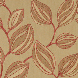 Beige and Red, Large Leaves Contemporary Upholstery Fabric By The Yard - This contemporary upholstery jacquard fabric is great for all indoor uses. This material is uniquely designed and durable. If you want your furniture to be vibrant, this is the perfect fabric!