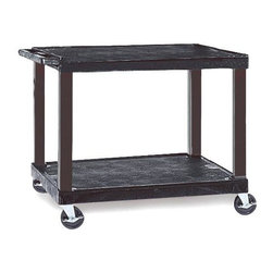 H. Wilson - Tuffy Cart in Black w Electric Cord - Includes three outlet UL approved electrical assembly with 15 ft. cord. Cord management wrap. Three cable management clips. Four 4 in. silent-roll. Full swivel. Four ball bearing casters, two with locks. Chip, warp, crack, rust and peel resistant. Two 2 in. thick steel reinforcements shelves for extra strength. 2 in. round legs. 25 in. safety retaining lip. Raised texture surface to enhance product placement. Minimal sliding. Weight capacity: 125 lbs.. Made from engineered thermoplastic resin, injection molded plastic. Assembly required. 32 in. L x 24 in. W x 28 in. H. Warranty