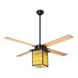 "Period Arts Fan Company - Library Ceiling Fan by Period Arts Fan Company - The Period Arts Library Ceiling Fan uses the latest air circulation technology while imbuing spaces with traditional West Coast Arts & Crafts style. It features a shade of hand-assembled stained glass panels set within an historic bronze frame, plus die-cast construction and an energy-saving compact fluorescent lamping option. Best with 9' or taller ceilings.The Period Arts Fan Company, headquartered in Ashland, OR, designs and manufactures ceiling fans that expertly combine modern technology with original interpretations of late-nineteenth century and early-twentieth century architectural, interior and product design movements.The Period Arts Library Ceiling Fan is available with the following:Details:Leaded Yellow-Green stained glass shadeRubbed Bronze finish4 bladesRound ceiling canopyOne 3"" and one 9"" downrodSloped ceiling adaptable up to 33 degreesReverse switch hardwired into fan housingLimited lifetime warrantyUL Listed for damp locations. Install indoors or in protected, fully covered outdoor locations. Using UL Listings to help select the right product for your space.Options:Blade Size: 42"", or 52"".Finish and Blade: Rubbed Bronze with Black, Rubbed Bronze with Mahogany, or Rubbed Bronze with Maple.Lamping: 26W Fluorescent, or 75W Halogen.Period Arts Fan Control Options:Except for the Industry Fan, Period Arts models do not use pull chains. Therefore, in order to operate your Period Arts Fan at different speeds and switch the light independently of the fan, you will need to select the appropriate control. Unless otherwise stated, all Period Arts Fan controls are designed and intended for operation of a single fan or fan and light. Any control ordered with a fan that has been configured with an energy-saving CFL will be supplied with a non-dimming version of that control.Fan Speed Control Only - 001A basic fan control used to operate a fan only, providing four speed control.Handheld Remote Control - 003Designed for independent operation of a fan and light using only one circuit (two wires). Comes with a wall hanging bracket. Provides three speeds and full range dimming when selected with an incandescent light option. When selected with a fluorescent light option, this control comes in a non-dimming model.Fan Speed and Light Wall Control - 004Designed for independent operation of a fan and light using only one circuit (two wires). Wires into wall box. Provides three speeds and full range dimming when selected with incandescent light fan option. When selected with a fluorescent light option, this control comes in a non-dimming model.Three Wire Fan and Light Control - 002Intended for operation of a fan with light. Requires two circuits (three wires). Provides four speeds and full range dimming when selected with incandescent light fan option.  When selected with a fluorescent light option, this control comes in a non-dimming model.Wall Control with Remote Handset - 005A combination control package including the Fan Speed and Light Wall Control - 004 and the Handheld Remote Control - 003. Both wall control and compatible remote handset provide three speeds and full range dimming when selected with an incandescent light option; When selected with a fluorescent light option, these two controls come in a non-dimming model.No ControlChoose this option only if you want your Period Arts Fan shipped without any of the other control options listed. Since fans from Period Arts don't utilize pull chains (except for the Industry Fan), this option is for those who already have control options in place.Lighting:26W Fluorescent"