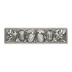"""Inviting Home - Autumn Squash Pull (antique pewter) - Hand-cast Autumn Squash Pull in antique pewter finish; 4-7/8""""W x 1-1/4""""H; Product Specification: Made in the USA. Fine-art foundry hand-pours and hand finished hardware knobs and pulls using Old World methods. Lifetime guaranteed against flaws in craftsmanship. Exceptional clarity of details and depth of relief. All knobs and pulls are hand cast from solid fine pewter or solid bronze. The term antique refers to special methods of treating metal so there is contrast between relief and recessed areas. Knobs and Pulls are lacquered to protect the finish. Alternate finishes are available."""