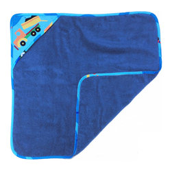 Boys Like Trucks Hooded Towel - Baby boys love this adorable hooded towel with designer fabric back with winding road and trucks of every kind. This item is completely made of cotton.
