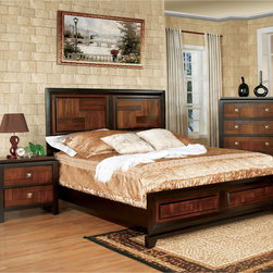 Furniture of America - Furniture of America Duo-tone and Walnut Platform Bed - Add charm to your bedroom with this unique two-tone piece. The platform design seemingly accentuates the acacia panel design while allowing the walnut border to stand out gracefully.