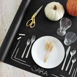 Garnet Hill - Chalkboard Table Runner - When it comes to unique ways to create distinctive table settings, we're on a roll, literally. This ingenious table-dressing set comes with a roll of quality chalkboard paper and five pieces of chalk, so you can draw, doodle, and decorate your settings as you like. Table runner is ideal for dinner parties, holiday gatherings, children's parties, and more - just cut to customize and create your own imaginative tablescapes  and projects. Size: 30 in. W x 50 in. L. Made in USA.