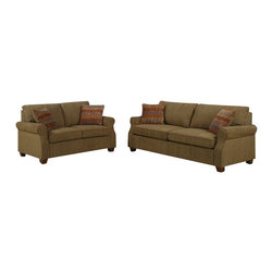 "AC Pacific - 2 pc Alex Sahara color chenille fabric upholstered sofa and love seat set - 2 pc Alex Sahara color chenille fabric upholstered sofa and love seat set with rounded arms and queen sleeper.  This set sofa with built in queen sleeper, and a love seat with rounded arms.  sofa measures 85"" x 36"" x 36"" H.  love seat measures 75"" x 36"" x 36"" H.   Some assembly required."