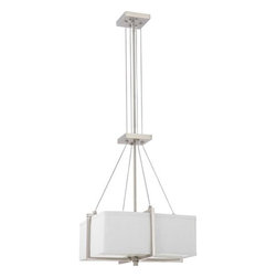 """Nuvo Lighting - Nuvo Lighting 60/4506 Logan Two Light 16"""" Square Pendant - Nuvo Lighting 60/4506 Logan Two Light 16"""" Square Pendant with Slate Gray Fabric Shade, in Brushed Nickel FinishLogan is geometry illuminated. Crisp cubes and linear bars wrap this collection. This collection is finished in subtle tones of hazel Bronze with Khaki fabric shades or for a more vibrant appearance, select the Brushed Nickel finish with Slate Gray fabric shades. Nuvo Lighting 60/4506 Features:"""