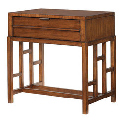 Frontgate - Kaloa Night Stand - Woods finished in Bali, a sun-drenched medium sienna coloration. Parsons leg bases are finished in a rich walnut to create visual depth. Hammered metal is a deep mocha brown textured finish. Coordinates with other items from our Tommy Bahama Ocean Club collection. Infuse your bedroom with the detailed design of the simply elegant Kaloa Nightstand. Simple yet elegant, there's a geometric pattern on the sides of the nightstand and storage is easy because of the one drawer with custom-designed antique hardware.  .  .  .  .