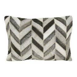 "Leather Herringbone Pillow, Grey, 14"" X 20"" - Leather herringbone pillow."