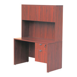 Boss Chairs - Boss Chairs Boss 48 Inch Desk w/ Hutch in Cherry - The 48 x 24 inch desk shell is perfect for areas where basic work surface is the need. Used as a student desk or salesman's workstation this high pressure laminate unit provides the basic necessity in the workplace. The Cherry laminate is durable yet stylish as well.