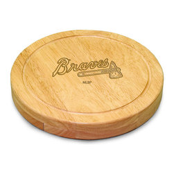 """Picnic Time - Atlanta Braves Circo Cheese Board in Natural - The Circo by Picnic Time is so compact and convenient, you'll wonder how you ever got by without it! This 10.2"""" (diameter) x 1.6"""" circular chopping board is made of eco-friendly rubberwood, a hardwood known for its rich grain and durability. The board swivels open to reveal four stainless steel cheese tools with rubberwood handles. The tools include: 1 cheese cleaver (for crumbly cheeses), 1 cheese plane (for semi-hard to hard cheese slices), 1 fork-tipped cheese knife, and 1 hard cheese knife/spreader. The board has over 82 square inches of cutting surface and features recessed moat along the board's edge to catch cheese brine or juice from cut fruit. The Circo makes a thoughtful gift for any cheese connoisseur!; Decoration: Laser Engraved; Includes: 1 cheese cleaver (for crumbly cheeses), 1 cheese plane (for semi-hard to hard cheese slices), 1 fork-tipped cheese knife, and 1 hard cheese knife/spreader"""