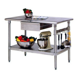 John Boos - Stainless Steel Kitchen Work Table/Island - C - Choose Size: 48 in. x 24 in.With an included drawer and an attractive storage shelf, you'll have everything you need for preparing a gourmet meal.  Stainless steel is the construction material chosen for this modern kitchen design.  It features an under counter drawer, solid shelf for storing larger items, and side hooks for hanging your kitchen supplies in easy reach.  The handy pot rack can be used for utensils or pots, making this a convenient work area with storage for all your needs.  The stainless steel top is a great work surface, and a drawer provides extra storage space. * Made out of stainless steel (food service grade). Undershelf of stainless steel. 1 included 20x15 stainless steel drawer w/ drawer slides on roller bearings. Top of stainless steel w/ polished bullnosed corners & edges. boos-BS4824-AS-D - 36 in. H x 48 in. W x 24 in D. - 100 lbs.. boos-BS4830-AS-D - 36 in. H x 48 in. W x 30 in D. - 119 lbs.