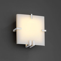 Justice Design Group - Fusion Clips Square Fluorescent Polished Chrome ADA Wall Sconce - - (1) 13W lamp included. The top clip is removable for re-lamping.  - Shade Detail - Opal  - Shade Material - Artisan Glass Justice Design Group - FSN5550OPALCROM