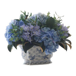 Winward Designs - Hydrangea/Olive Leaf In Ceramic Pot Flower Arrangement - Beautiful blue hydrangeas are a gardener's prize possession, but you don't have to have a green thumb to enjoy their bounty. Invest in a permanent display that proudly blooms in a traditional porcelain pot. It's perfect for a cheerful kitchen table or countertop.