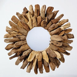 Driftwood Round Mirror - A round driftwood mirror will bring in a little more warmth and bounce around light.