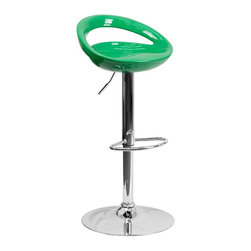 Flash Furniture - Flash Furniture Barstools Plastic Residential Barstools X-GG-NG-2601-3CT-HC - This bar stool will add a fun, modern feel to your kitchen bar or counter. A gentle curve in the smooth seat creates sleek comfort. The dual purpose design performs as a counter height stool or a bar height stool. The height adjustable swivel seat adjusts from counter to bar height with the handle located below the seat. [CH-TC3-1062-GN-GG]