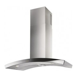 """Best - WC35E90SB Dune 35 7/16"""" Chimney Range Hood with Two 6-watt LED Lamps  Heat Sentr - The gentle arc of Dune is reminiscent of a rolling hill It features a sophisticated black glass capacitive touch electronic control This updated design is still a 90cm width but now has LED lighting"""