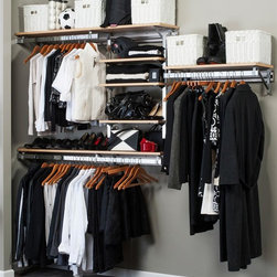 Arrange A Space - Closet System in Maple Finish (104 in. W x 11 - Choose Size: 104 in. W x 11.75 in. D x 84 in. H (114 lbs.)Includes hardware. Anodized aluminum rail. Rail mounts easily onto the wall. Easy to installs into wood studs. 0.75 in. shelf thickness with industrial grade particle board. Commercial grade steel tubing hang rod in polished chrome. Made from fine wood grain melamine and metal. Height adjusts from 80 in. to 84 in.Arrange a Space's patented closet systems provide you with a unique and innovative solution for all of your space and storage needs. Created as a more flexible and versatile option for closets and storage areas than the common white wire or wood shelf, rod systems of the past.