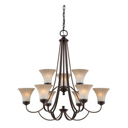 Quoizel - Quoizel ALZ5009PN Aliza Transitional Two Tier Chandelier - Aliza is elegant and stylish a beautiful collection for todays home.  Featuring sleek oval tubing and a versatile Palladian Bronze finish, this collection compliments any decor with trumpeted fluted glass in a soft gradient amber mist.