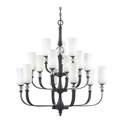 Z-Lite - Black Harmony 15 Light 3 Tier Chandelier with White Shade - Z-Lite 604-15 Harmony 15 Light Chandelier This product from Z-Lite has a matte black finish. It is offered with white watermark glass. For use with 15