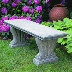 Campania International Westchester Cast Stone Backless Garden Bench - About Campania InternationalEstablished in 1984, Campania International's reputation has been built on quality original products and service. Originally selling terra cotta planters, Campania soon began to research and develop the design and manufacture of cast stone garden planters and ornaments. Campania is also an importer and wholesaler of garden products, including polyethylene, terra cotta, glazed pottery, cast iron, and fiberglass planters as well as classic garden structures, fountains, and cast resin statuary.Campania Cast Stone: The ProcessThe creation of Campania's cast stone pieces begins and ends by hand. From the creation of an original design, making of a mold, pouring the cast stone, application of the patina to the final packing of an order, the process is both technical and artistic. As many as 30 pairs of hands are involved in the creation of each Campania piece in a labor intensive 15 step process.The process begins either with the creation of an original copyrighted design by Campania's artisans or an antique original. Antique originals will often require some restoration work, which is also done in-house by expert craftsmen. Campania's mold making department will then begin a multi-step process to create a production mold which will properly replicate the detail and texture of the original piece. Depending on its size and complexity, a mold can take as long as three months to complete. Campania creates in excess of 700 molds per year.After a mold is completed, it is moved to the production area where a team individually hand pours the liquid cast stone mixture into the mold and employs special techniques to remove air bubbles. Campania carefully monitors the PSI of every piece. PSI (pounds per square inch) measures the strength of every piece to ensure durability. The PSI of Campania pieces is currently engineered at approximately 7500 for optimum strength. Each piece is air-dried and then de-molded by hand. After an internal quality check, pieces are sent to a finishing department where seams are ground and any air holes caused by the pouring process are filled and smoothed. Pieces are then placed on a pallet for stocking in the warehouse.All Campania pieces are produced and stocked in natural cast stone. When a customer's order is placed, pieces are pulled and unless a piece is requested in natural cast stone, it is finished in a unique patinas. All patinas are applied by hand in a multi-step process; some patinas require three separate color applications. A finisher's skill in applying the patina and wiping away any excess to highlight detail requires not only technical skill, but also true artistic sensibility. Every Campania piece becomes a unique and original work of garden art as a result.After the patina is dry, the piece is then quality inspected. All pieces of a customer's order are batched and checked for completeness. A two-person packing team will then pack the order by hand into gaylord boxes on pallets. The packing material used is excelsior, a natural wood product that has no chemical additives and may be recycled as display material, repacking customer orders, mulch,or even bedding for animals. This exhaustive process ensures that Campania will remain a popular and beloved choice when it comes to garden decor.Please note this product does not ship to Pennsylvania.