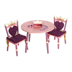 Levels of Discovery - Princess Table and 2 Chair Set - Secret compartment under crown opens to reveal a place for a tea set or trinkets and a music box plays Pomp and Circumstance! Secret compartment with music box. Plays Pomp and Circumstance. 3 piece set. Chairs have removable back and seat cushions. All products have instructions included for assembly