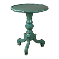 Antiqued Aqua Aquila Pedestal Accent Table - *Turned Pedestal And Carvings Crafted In Solid Reclaimed Fir Wood, With An Antiqued Aqua Hand Painted Finish