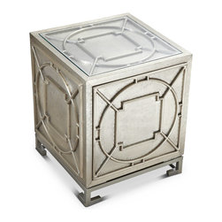 Kathy Kuo Home - Keaton Hollywood Regency Silver Storage Cube Side Table - Stunning and stylish, this storage cabinet brings the sparkle of Old Hollywood to your sitting or living room. Crafted from hard wood and covered with sheets of metal alloy, this square side table has a three-dimensional door with the touch latch feature, opening to extra storage.