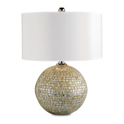 Currey and Company - Barbados Table Lamp - Mother-of-pearl overlay adds natural glamour to the base of the earthy Barbados table lamp. A white parchment drum shade freshens the look.