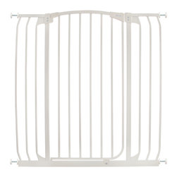 "Dreambaby - Dreambaby Chelsea Xtra Tall & Wide Swing Close Gate, White - Dreambaby® Extra-Tall Hallway Security gate is extremely versatile and great for those wider areas.  The extra-tall height is especially good for use with stairs. Keep your child safer by preventing access to areas of potential danger. With easy close feature and its double locking system, this attractive pressure mounted gate is easy to install. Great for cordoning off wider spaces and with the use of additional extensions available separately. It is extremely versatile. It will fit openings of 38""-42.5"" on its own. Using optional extensions, sold separately, two extensions may be used per side up to a maximum of 121."" This Dreambaby® pressure-mounted gate is easily installed and for most situations there is no need to screw holes into woodwork, walls unless used at the top of stairs where the mounting cups must be screwed in to added security. Great for pets too!"
