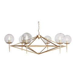 Worlds Away - Worlds Away 6-Light Gold Leaf Chandelier ROWAN G - Gold leaf chandelier with hand blown glass globes. Fixture uses (6) 40 watt chandelier bulbs. Comes with 3' matching chain and canopy.