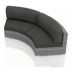 Harmonia Living - Urbana Eclipse Outdoor Wicker Curved Loveseat, Weathered Stone Wicker, Charcoal - Create the perfect outdoor gathering with the Urbana Eclipse Modern Outdoor Wicker Love Seat with Gray Sunbrella Cushions (SKU HL-URBNWS-E-LS-CC), featuring a modern wicker design, clean curves and brushed aluminum feet. The love seat's curved seating is a great match for patios with fire pits or circular tables, allowing you to create a stylish outdoor lounge. The love seat includes cushions covered in Sunbrella� fabric, the best in mildew- and fade-resistant outdoor fabrics. High-Density Polyethylene (HDPE) wicker infused with a Weathered Stone color and UV protection will not crack or fade with regular sun exposure. Underneath the wicker is a thick-gauged aluminum frame, providing incredible corrosion resistance and stability. Each love seat has additional reinforcements to prevent excessive wicker stretching after repeated use, another feature that keeps this love seat looking and performing great throughout the years.