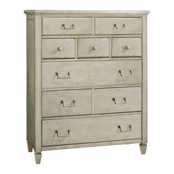 American Drew - American Drew Americana Home 5 Drawer Chest in Weathered White - 5 Drawer Chest in Weathered White belongs to Americana Home Collection by American Drew Americana Home is a casual lifestyle grouping with an eclectic mix of design elements, finishes, and materials. Crafted with Pin Knotty Oak veneers with hardwood solids. Americana Home creates an inviting and comfortable setting for any lifestyle and personality. The best elements of casual country, modern lodge, coastal cottage and urban loft living combine to bring a unique sense of timeless and comfortable places from all over the American andscape. Americana Home creates an inviting and comfortable setting for any lifestyle and personality. Design the perfect timeless escape in your own home. Chest (1)
