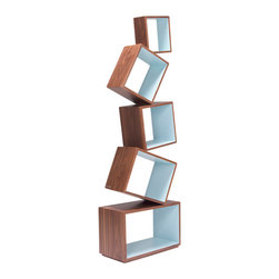 Malagana Design - Equilibrium, Walnut-Celeste - Equilibrium's compartments may seem to float in the air but the bookcase can impressivley hold over 120 Lbs.