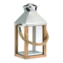 Kathy Kuo Home - Camp Gray Nautical Large Modern Wood Rope Handle Lantern - S - Hang on to summer with this nautical lantern, steeped in equal parts structure, texture and maritime charm. While it boasts reclaimed wood, the warm glow is all new.