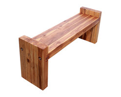 Kammika - Farmed Teak Block Bench 48 x 12 x 19 inch Ht Seat = 16 KD w Eco Friendly Oak Oil - Our Sustainable Farmed Teak Wood Block Bench 48 inch x 12 inch x 19 inch height (Seat is 16 inch) with Eco Friendly, Natural Food-safe Livos Oak Oil Finish (ships Knocked Down) functions as entryway seating as well as table seats. Farmed Teak benches for whiling away the time at the pool, patio, or garden area. Classic lines made with Farmed Teak blocks expose the natural grain of the logs. Place in the garden, on a deck, inside an entry way, or at the foot of a bed; or you can use these hand crafted wood doweled pieces to set up an indoor or outdoor shower or bathing area. These are also great for in home spa set ups and swimming pool rinse off areas. Each piece is rubbed in Livos Oak tone oil creating a water resistant and food safe finish. These natural oils are then polished to a matte finish. The light and dark portions of wood turn to darker shades of brown over time and the alkaline in the oils creates a honey orange color. There is no oily feel; and cannot bleed into carpets, as it contains natural lacs. Ships KD (knocked down), and is easily reassembled. Simply insert the legs onto the pre-marked ends (you may have to knock them on a bit), and then use an 11/16 inch socket or hand wrench to gently tighten the two stainless steel lag bolts on each end with washers into the pre-drilled holes. We make minimal use of electric sanders in the finishing process. All products are dried in solar or propane kilns. No chemicals are used in the process, ever. This piece is packaged with cartons from recycled cardboard with no plastic or other fillers. The color and grain of your piece of Nature will be unique, and may include small checks or cracks that occur when the wood is dried. Sizes are approximate. Products could have visible marks from tools used, patches from small repairs, knot holes, natural inclusions or holes. There may be various separations or cracks on your piec