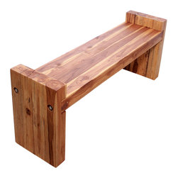Kammika - Farmed Teak Block Bench 48 x 12 x 19 inch Ht Seat = 16 KD w Eco Friendly Oak Oil - Our Sustainable Farmed Teak Wood Block Bench 48 inch x 12 inch x 19 inch height (Seat is 16 inch) with Eco Friendly, Natural Food-safe Livos Oak Oil Finish (ships Knocked Down) functions as entryway seating as well as table seats. Farmed Teak benches for whiling away the time at the pool, patio, or garden area. Classic lines made with Farmed Teak blocks expose the natural grain of the logs. Place in the garden, on a deck, inside an entry way, or at the foot of a bed; or you can use these hand crafted wood doweled pieces to set up an indoor or outdoor shower or bathing area. These are also great for in home spa set ups and swimming pool rinse off areas. Each piece is rubbed in Livos Oak tone oil creating a water resistant and food safe finish. These natural oils are then polished to a matte finish. The light and dark portions of wood turn to darker shades of brown over time and the alkaline in the oils creates a honey orange color. There is no oily feel; and cannot bleed into carpets, as it contains natural lacs. Ships KD (knocked down), and is easily reassembled. Simply insert the legs onto the pre-marked ends (you may have to knock them on a bit), and then use an 11/16 inch socket or hand wrench to gently tighten the two stainless steel lag bolts on each end with washers into the pre-drilled holes. We make minimal use of electric sanders in the finishing process. All products are dried in solar or propane kilns. No chemicals are used in the process, ever. This piece is packaged with cartons from recycled cardboard with no plastic or other fillers. The color and grain of your piece of Nature will be unique, and may include small checks or cracks that occur when the wood is dried. Sizes are approximate. Products could have visible marks from tools used, patches from small repairs, knot holes, natural inclusions or holes. There may be various separations or cracks on your piece when it arrives. There may be some slight variation in size, color, texture, and finish.Only listed product included.