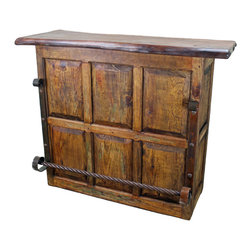 Old Mesquite Top Cantina Bar - This Old Mesquite Top Cantina Bar is part of our newest in a line of Rustic Furniture Home Decor Collections. Rough lines, 100% solid mesquite wood top construction with matching pieces. Mix and Match. No veneers are used. The perfect home accent to any Southwest or Colonial decor design style patio, game room or family room. See ordering information below.