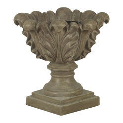 Kenroy Home - Scroll Leaf Planter Garden Ornament - With wonderful shape and texture, this scroll leaf planter combines fired earth and rustic simplicity in a dark tuscan earth finish. Indoors or out, this decorative ornament is sure to be a welcome addition to any decor.