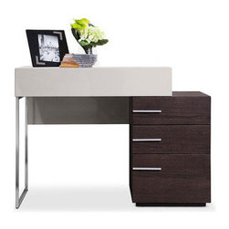 Modern Architect Desk - At home or work, the sharp edges and lines of the Modern Architect Desk will help you get the job done in style. Supported by a stainless steel square leg on one side and a three-drawer cabinet on the other, this super sturdy desk provides plenty of storage and visual interest to any space.
